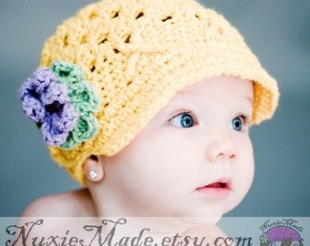 Newsboy Hat 3-6 Months, Winter Hat, Girls Hat, Crochet Hat, Yellow Hat, Girl Hat, Hat with Flowers, Childrens Hat, Baby Girl Hat, Baby Hat