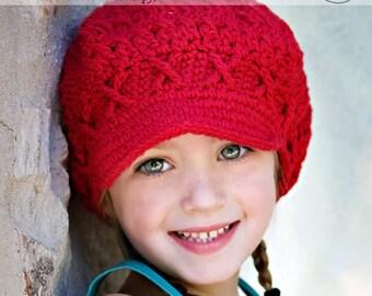 Girls Newsboy Winter Hat, 12-24 Months Red Crochet Hat, newsgirl hat, apple cap, hat with brim, childrens hat, child hat, red winter hat