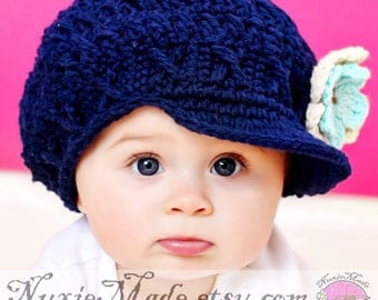 12-24 months Girls Navy Blue Hat, Girls Hat, Crochet Hat, Childrens Hat, Apple Cap, Newsboy, hat with brim, winter hat, baby hat beanie