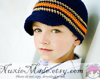 Newsboy Hat 2T-4T, Crochet Hat, Stripes Hat, Navy Blue Hat, Crochet Newsboy Hat, Winter Hat, Fall Hat, Boy Beanie, Stripes Hat, Beanie