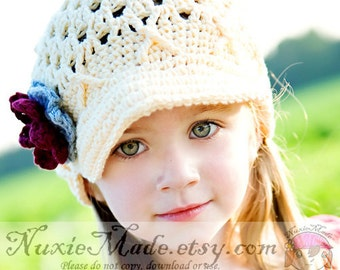 Crochet Cream Hat 12-24 months, Cream Newsboy Hat, Winter Hat, Kids Hat, Crochet Hat, Toddler Girl Hat, Hat with Brim, Newsboy Beanie