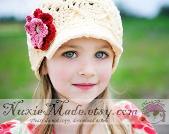 2T-4T Girls Cream Hat with Flowers, Girls Newsboy, Hat for Girls, Childrens Hat, Girls Hat, Child Hat, Girls Winter Hat, Crochet Hat