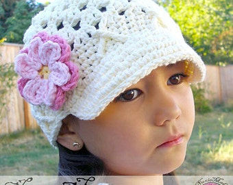 Girls Hat, Crochet Hat, Kids Hat, Newsgirl Hat, Newsboy Hat, Childrens Hat, Photo Prop, Hat with Flowers, Hat, Ivory Hat, Free US Shipping