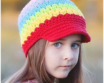 5T-Preteen Rainbow Hat, Crochet Girls Hat, Stripes Rainbow Beanie, Childrens Hat, Winter Hat, Colorful Beanie, Spring Hat, Tween Hat, Beanie