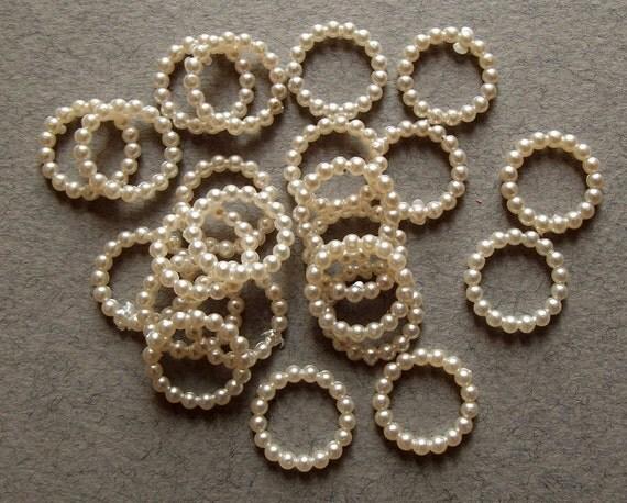 Vintage ivory pearl beaded hoops