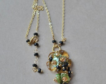 Golden Citrine and Spinel blossom - necklace