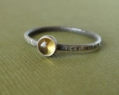 Lemon Yellow Citrine - Tiny Stacking Ring - Gemstone Stacker - Sterling and Fine Silver - Rustic - November's Birthstone
