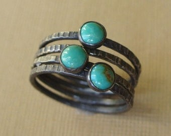 Turquoise Sky - Tiny Stacking Set - 3 Turquoise Rings, 1 Stoneless Ring - Sterling and Fine silver