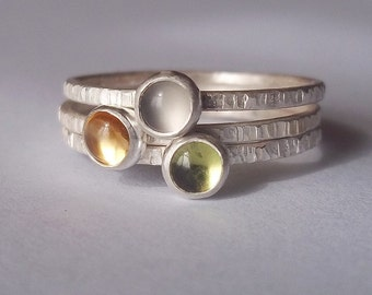 Soft Misty Morning - Tiny Stacking Ring Trio set - Sterling and Fine Silver - Mother's Day Birthstone Stackers