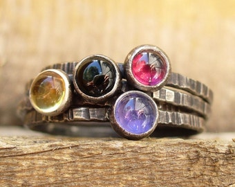 Candy Drops Stacking Set of 4 - Gemstone Stackers - Birthstone Rings - Black Onyx, Garnet, Citrine, Iolite
