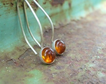 Drops of Glowing Amber Honey. Sterling and Fine Silver Earrings.  Hammered Finish.  Baltic Amber.  Sleek and Sophisticated.