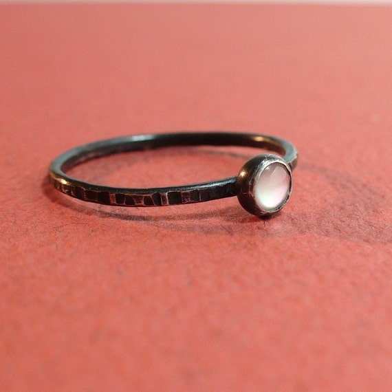 Tiny Mother of Pearl Ring - Sterling and Fine Silver
