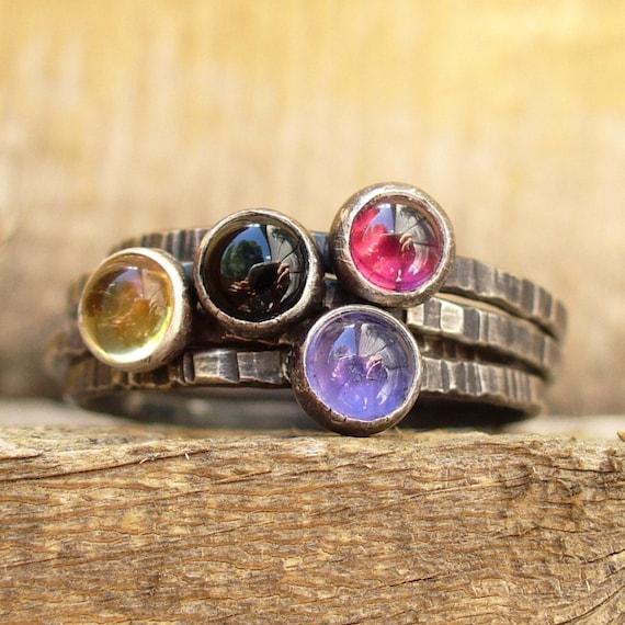 Candy Drops Stacking Set of 4 - Gemstone Stackers - Birthstone Rings - Black Onyx, Garnet, Citrine, Iolite