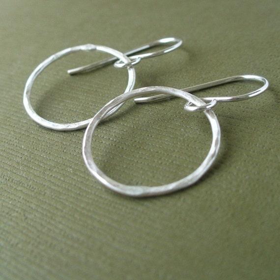 Simple Hammered Drop Hoops - Sterling Silver
