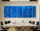Contemporary Metal Painted Art - Blue Modern Metal Wall Art - Abstract Metal Painting - Blue Plumage XL by Jon Allen