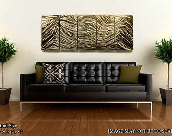 Large Multi Panel Metal Wall Art in Gold, Modern Wall Sculpture, Abstract Home & Office Decor, Handmade Artwork - Sahara by Jon Allen