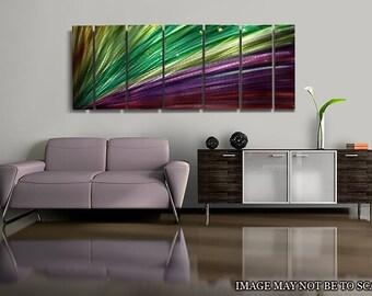 Purple & Green Abstract Metal Painting - Modern Metal Wall Art - Home Decor - Accent - Wall Decor - Luminescent Energy by Jon Allen