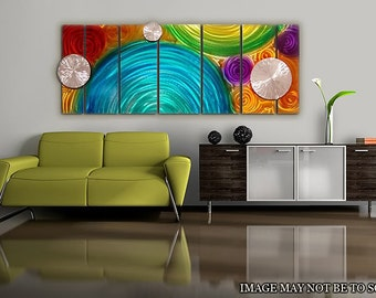 Colorful Large Abstract Metal Wall Art - Modern Metal Painting - Fun Art - 3D Decor - Accent - Unique Wall Art - Elation Too by Jon Allen