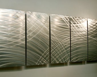 Silver Modern Metal Wall Sculpture - Contemporary Metal Wall Art - Home Decor - Accent - Metallic Hanging - Equinox by Jon Allen