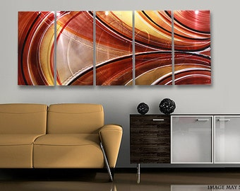 Warm Toned Handpainted Abstract Metal Artwork - Large Modern Wall Sculpture - Contemporary Home Decor Accent - Rotating Reality by Jon Allen