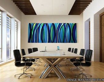 HUGE Gorgeous Hand-Painted Blue & Green Metal Wall Art Extra Large Size for Home / Office Decor -  Psychedelic Rush XL by Jon Allen