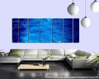 Huge Water Inspired Abstract Painting - Handmade Modern Metal Artwork - Ripples Accent Home Wall Decor -  Blue Rain XL by Jon Allen