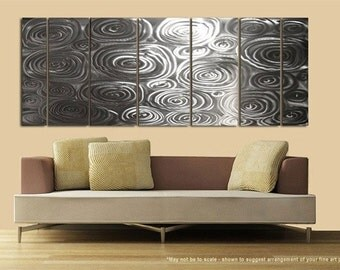 Natural Silver Etched Modern Wall Art - Contemporary Metal Panel Home Decor - Silver Rain by Jon Allen