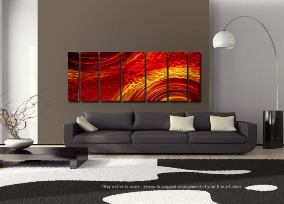 Red, Orange and Yellow Abstract Metal Painting - Modern Metal Wall Art - Flame Inspired Home Decor - Accent - Harvest Moods XL by Jon Allen