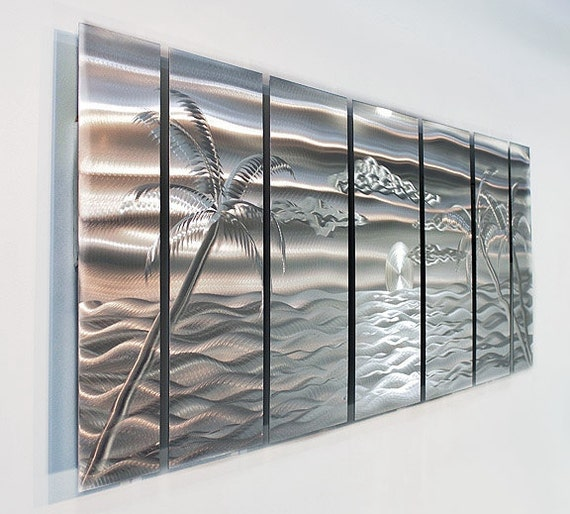 Large tropical modern metal wall art nautical silver metal for Tropical metal wall art