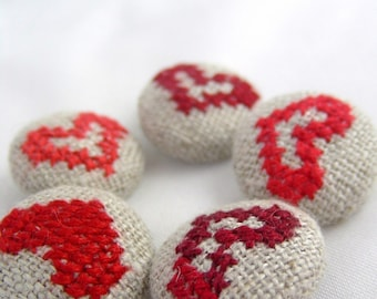 Red Hearts - Hand Embroidered Buttons