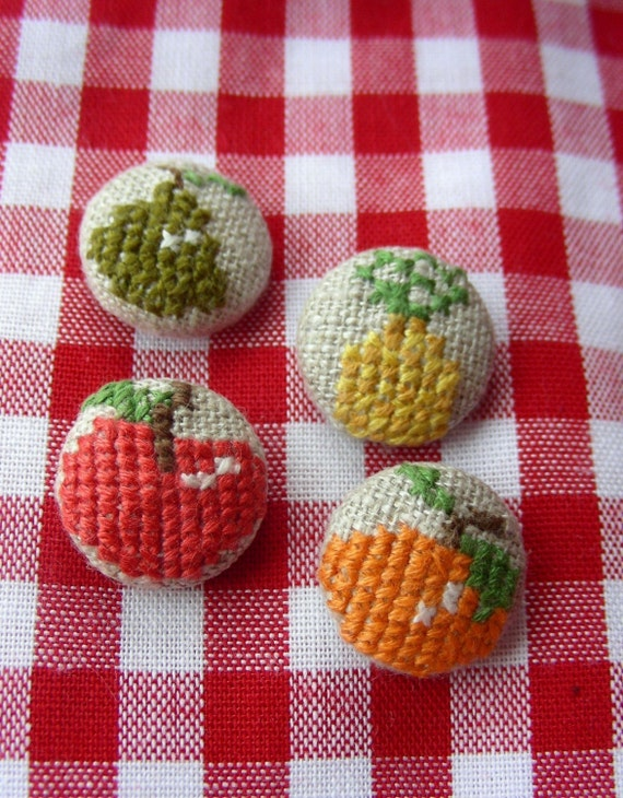 Fruit Salad - Embroidered Buttons