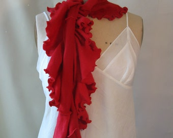 Bright Red Cashmere Flounce Scarf by devilmademedoit