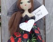 Primitive Doll Folk Art  LOVE BUG