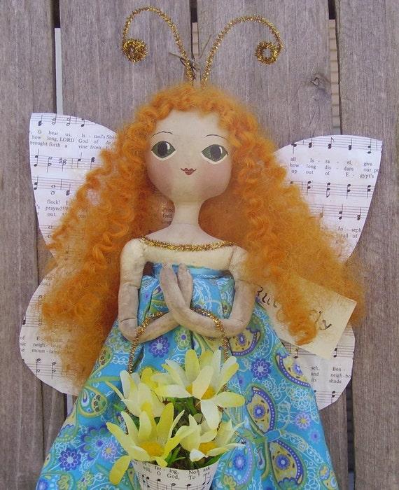 Art Doll Primitive Folk Butterfly Girl