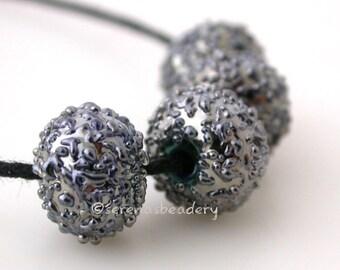 DISCO BALLS Silver Luster Handmade Lampwork Glass Bead Set - TANERES sra metallic iris