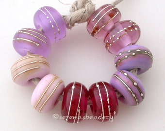 Buyer's Choice - PINK with FINE SILVER - Handmade Lampwork Glass Beads - taneres