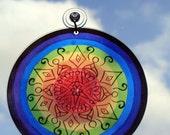 Rainbow Mandala Suncatcher - Geometric Bohemian Decor - LGBTQ Pride Marriage Equality