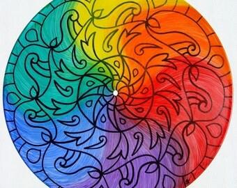 Color Wheel Turntable Art - Mandala Painting on Vinyl Record - LGBTQ Pride Marriage Equality