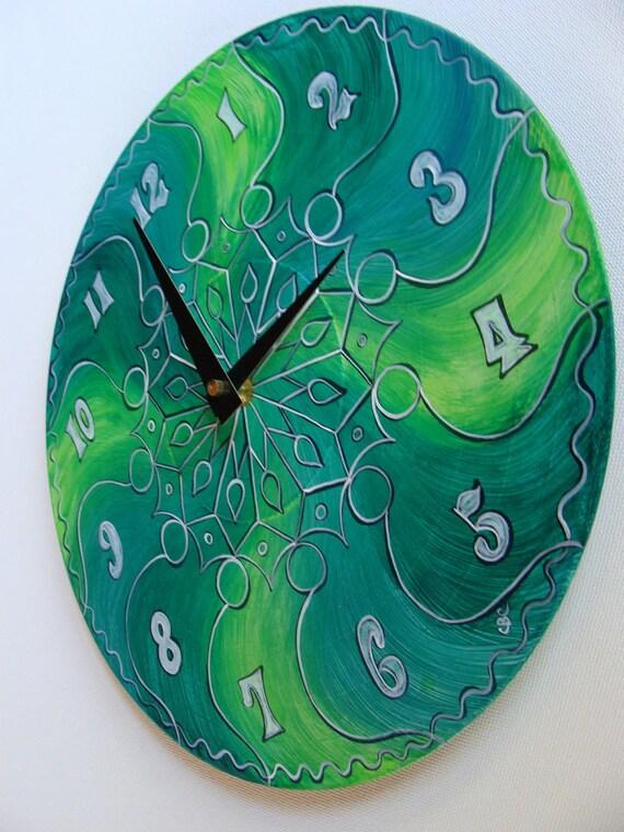 Wall Clock in Trippy Green  -  Geometric Mandala on Recycled Vinyl Record