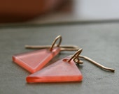 right angle dangle earrings (peach vintage Lucite. gold filled wire)