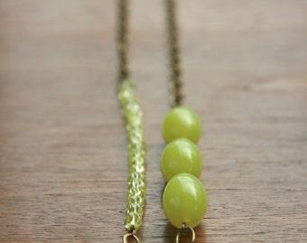 lemon yellow counterbalance necklace (vintage Lucite. glass. antique brass chain)