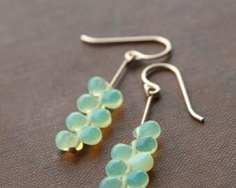 lemonade anemone dangle earrings (yellow green glass. gold filled wire)