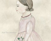 Pretty in Pink Early Style Watercolor Profile Portrait Young Girl