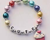 Cupcake Charm Bracelet Cupcake Name Bracelet Cupcake Party Favor Bracelet for Baby Toddler Child and Kids Colorful Pearl Bracelet Birthday