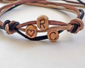 Custom Initials Personalized Monogram Wood Letter Bracelet leather wood Hand burnished beads YOU CHOOSE leather color Groomsmen gift