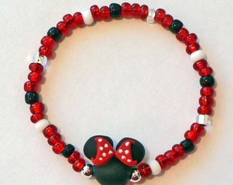 Mini Mouse Bracelet in Red and Black with Red polka dot bow.Hypoallergenic Children's jewelry mini mouse ears Red Bow Polka Dot