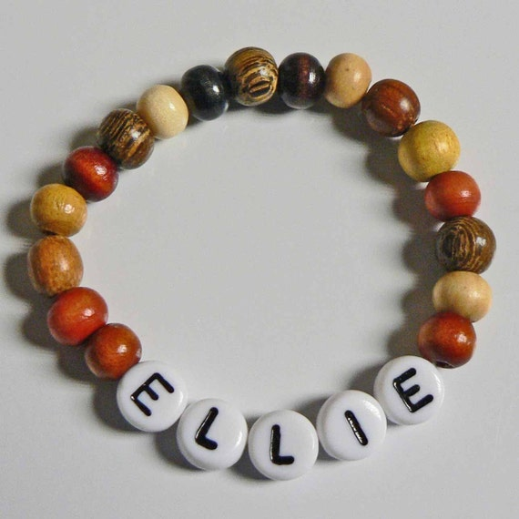 Natural Wood Children's Jewelry Name Bracelet PERSONALIZED Party Favor Infant Child Kid Adult Sizes Makes a great STOCKING STUFFER