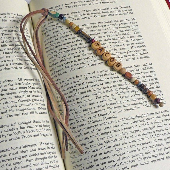 Hand Burnished Wood Beaded Bookmark with Suede Leather Tassels  Earthy and natural