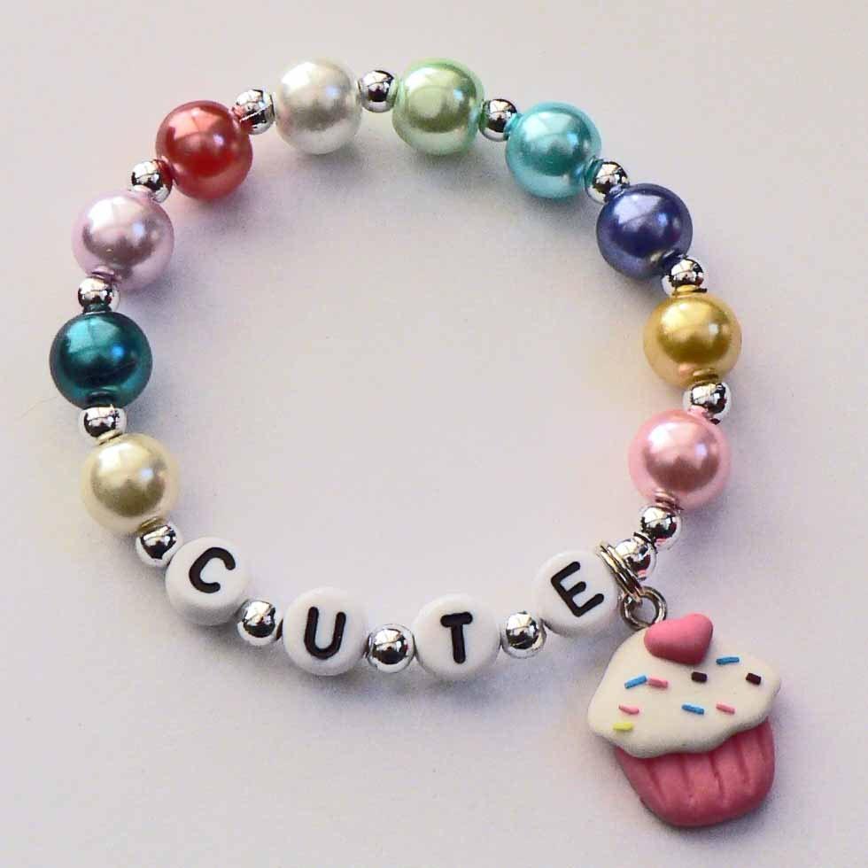 Childrens Charm Bracelet: Cupcake Charm Bracelet Cupcake Name Bracelet Cupcake Party