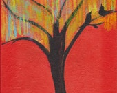 Bird Tree Painting - Sunshine and Blue Skies - Contemporary Art Supporting Cancer Awareness